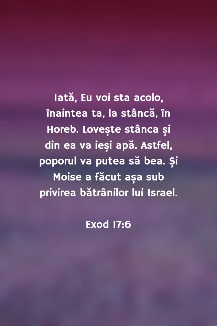 Iată, Eu voi sta acolo, înaintea ta, la stâncă, în Horeb. Lovește stânca și din ea va ieși apă. Astfel, poporul va putea să bea. Și Moise a făcut așa sub privirea bătrânilor lui Israel. Exod 17:6