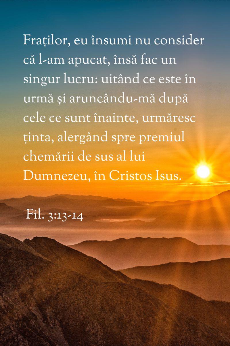 Fraților, eu însumi nu consider că l‑am apucat, însă fac un singur lucru: uitând ce este în urmă și aruncându‑mă după cele ce sunt înainte, urmăresc ținta, alergând spre premiul chemării de sus al lui Dumnezeu, în Cristos Isus. Fil. 3:13-14